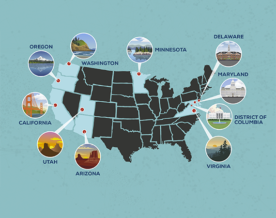 Graphic showing ten friendliest states for online businesses