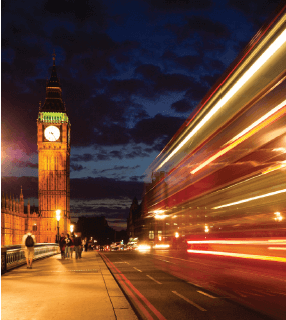 Big Ben and blurred London traffic