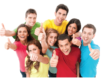 Eight people giving a thumbs up