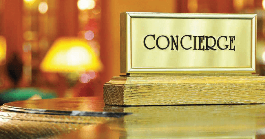 Concierge sign on a table