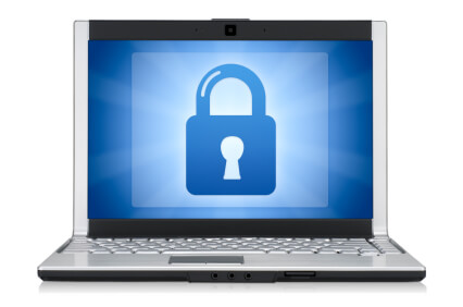 Laptop, cybersecurity concept
