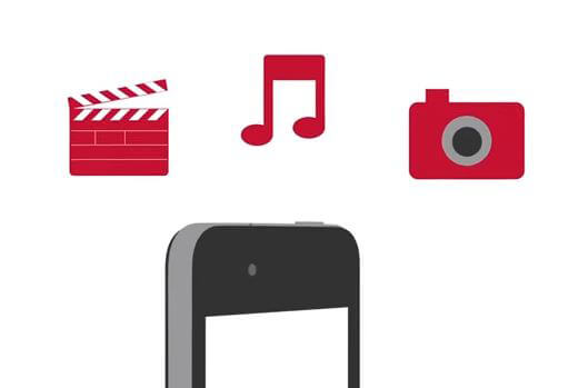Illustrated graphic of clapperboard, musical note, camera, and smartphone