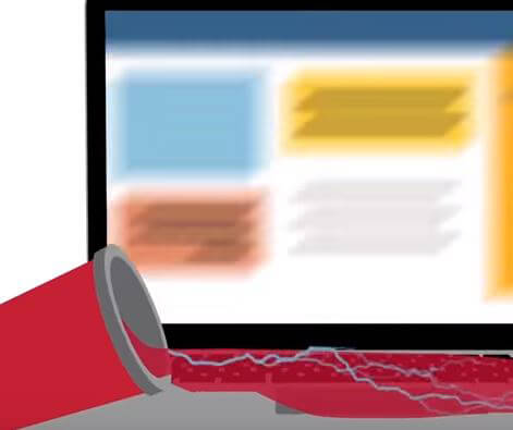 Illustration of red soda spilling onto laptop