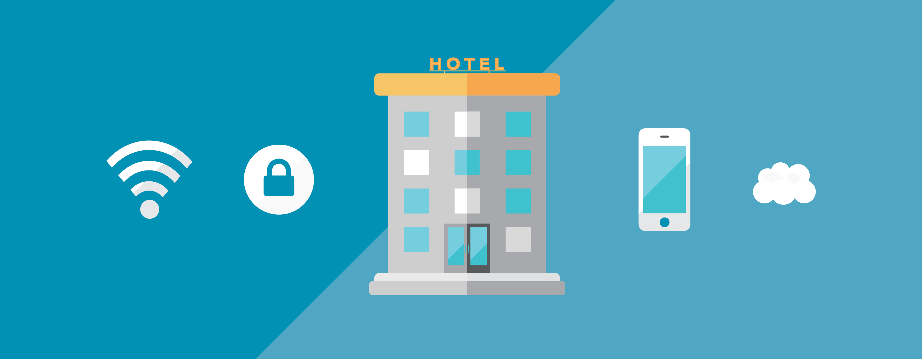 Illustrated graphic, business technology for hotels