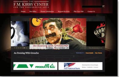 The F.M. Kirby Center website screenshot