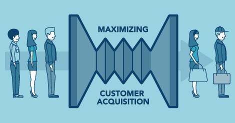 "Illustrated graphic saying, ""maximizing customer acquisition"""