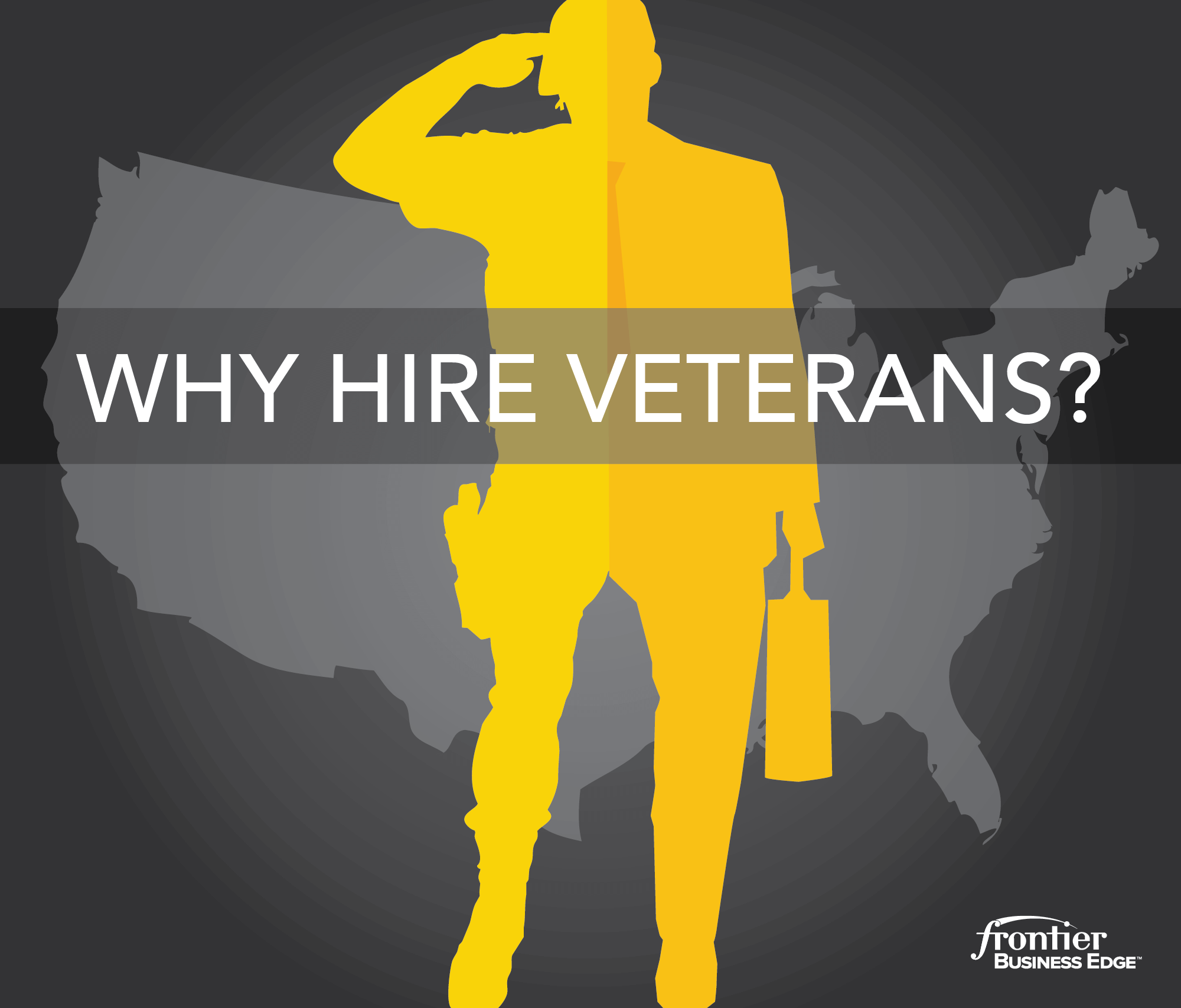 "Illustrated graphic that says, ""why hire veterans?"""