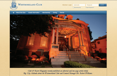 Westmoreland Club website screenshot