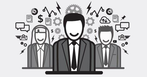 Illustration of three businesspeople