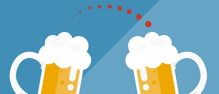 Illustration of two pints of beer