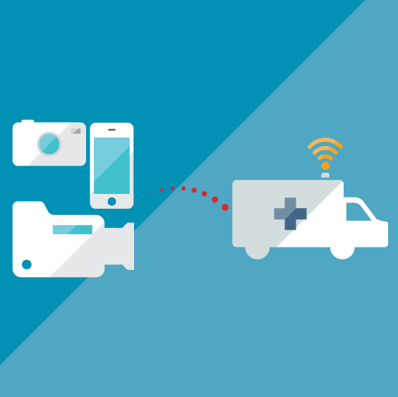 Illustrated graphic of camera, smartphone, and ambulance