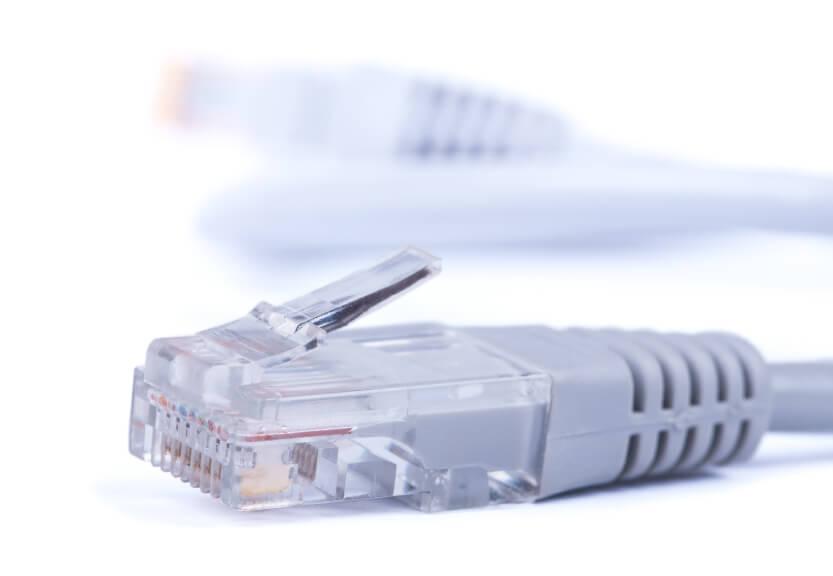 Closeup of an Ethernet cord