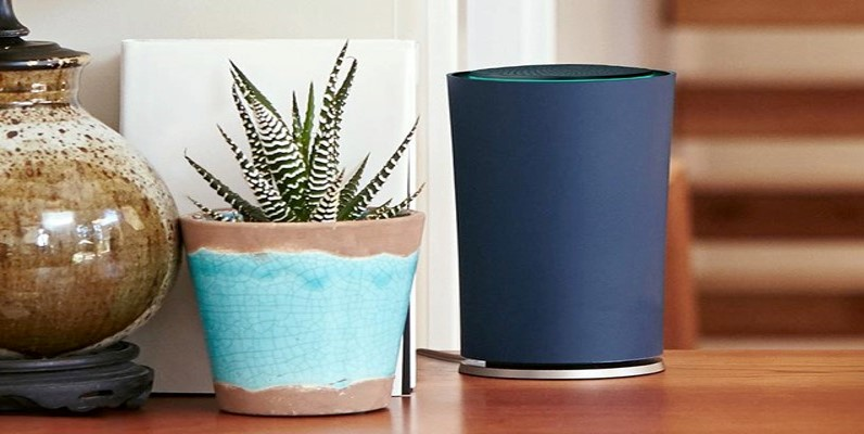 Google OnHub router sitting on a table